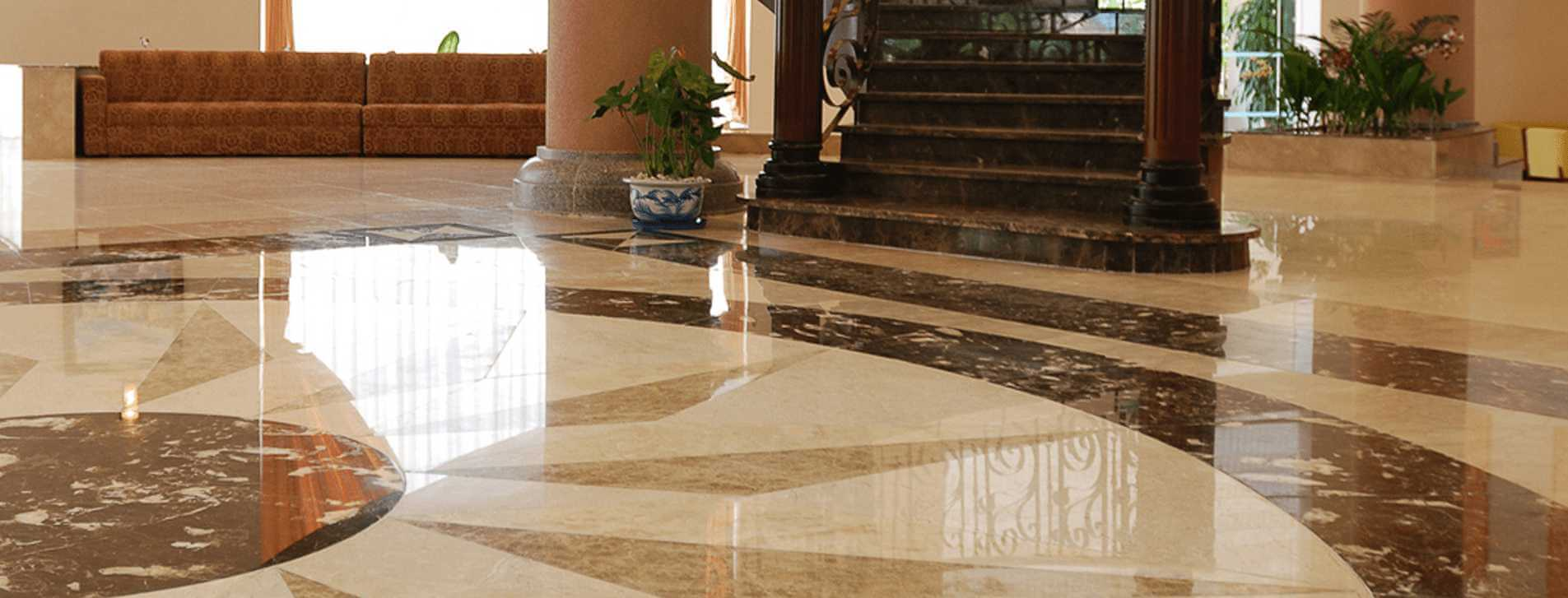 banner Polished marble hotel floor